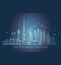 Linear banner of united arab emirates vector