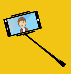 Man making selfie with a selfie-stick smiling man vector