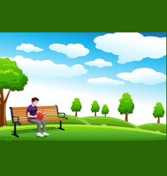 Man reading a book on the bench vector