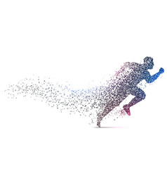 Man running backgorund made with dynamic particles vector