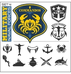 Military and naval forces badges design elements vector image