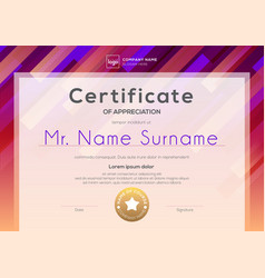 modern certificate template with red pink vector image
