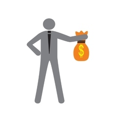 Modern flat icon man with bag of money vector