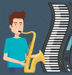 music festival live with man playing saxophone vector image