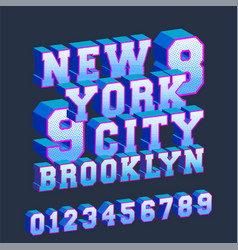 new york brooklyn 3d design typography with vector image