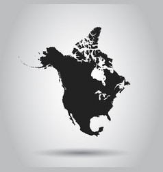 North america map icon flat north america sign vector