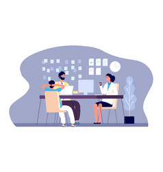 office people young persons work with laptop vector image