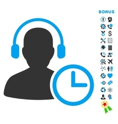 Operator Time Flat Icon with Bonus vector