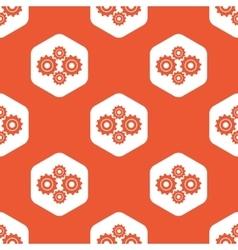 Orange hexagon cogs pattern vector