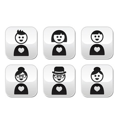 People in love Valentines Day buttons set vector image