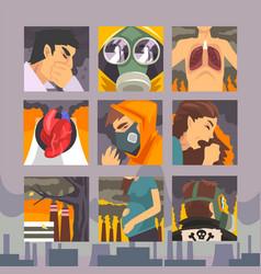 People suffering from industrial smog diseases vector