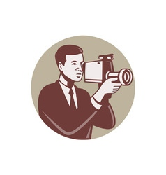 Photographer shooting video vector
