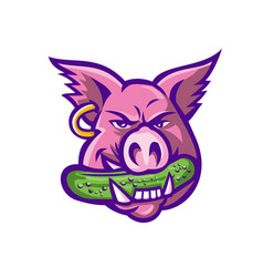 pink pig biting pickle mascot vector image