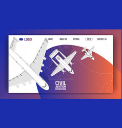 plane web-page traveling on aircraft airplane jet vector image