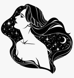 Portrait a fairy girl with long hair vector