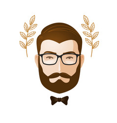 Portrait of men bearded man with glasses erudite vector
