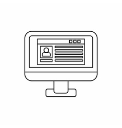 Profile information on a computer monitor icon vector image