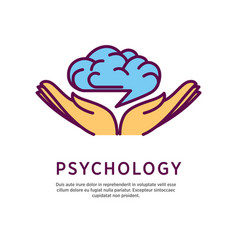 Psychology logo design with open hand palms with vector