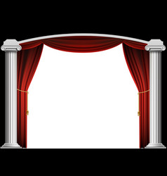 red curtain and marble antique columns vector image