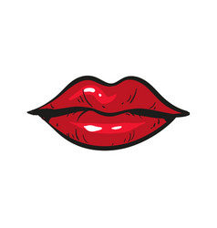 Red female lips closed hand drawn isolated on vector