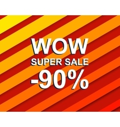 Red striped sale poster with WOW SUPER SALE MINUS vector