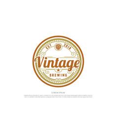 Retro vintage hop for craft beer brewing brewery vector