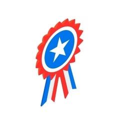 Ribbon rosette in the USA flag colors icon vector image