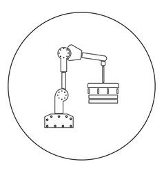Robotic hand manipulator black icon in circle vector
