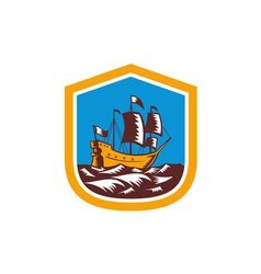 Sailing Ship Galleon Crest Retro Woodcut vector image