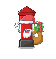 Santa with gift pillar box on a cartoon highway vector