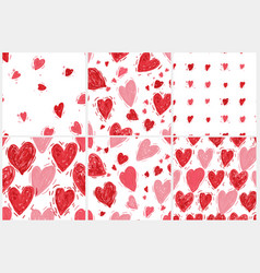 seamless pattern set with hearts valentines day vector image