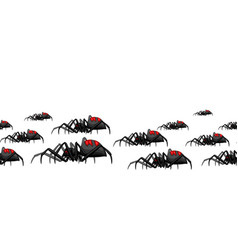 seamless pattern with black widow spiders vector image