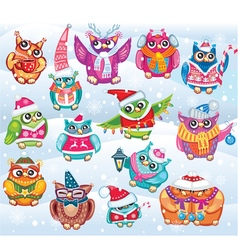 set cute christmas owls vector image