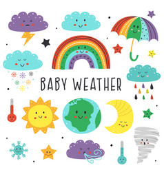 set isolated elements baby weather vector image