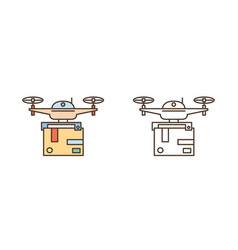 set line art drones with package box delivery vector image