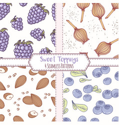 set of hand drawn seamless patterns vector image