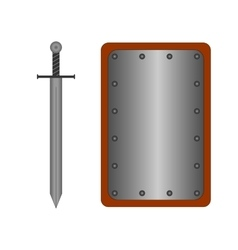 Set of sign shield and sword silver R 2008 vector image