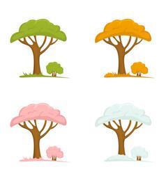 set trees in seasons vector image