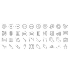 Sewing and handcraft elements icon editable line vector