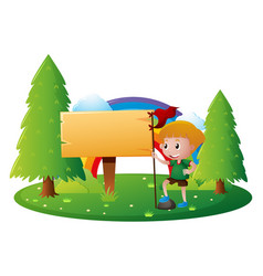 sign template with boy in park vector image