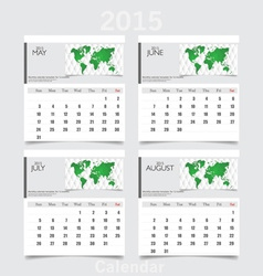 Simple 2015 year calendar May June July August vector image
