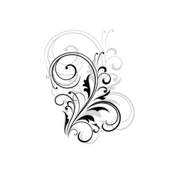 Simple black and white swirling floral element vector