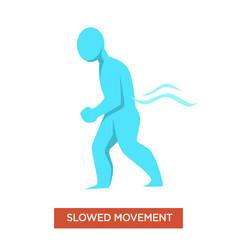 Slowed movements disease symptom man blue figure vector