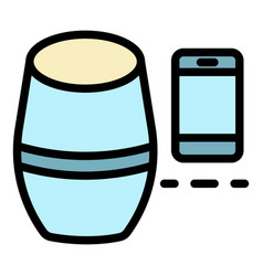 Smart speaker smartphone icon color outline vector