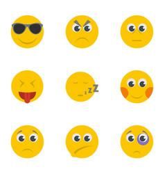 Smirk icons set cartoon style vector
