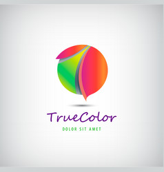 sphere circle 3d colorful logo vector image