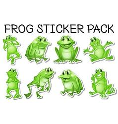 Sticker set of green frogs vector