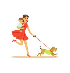 Super mom character with child walking a dog vector
