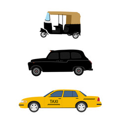 Taxi cab icon set yellow taxi london cab and vector
