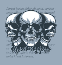 three skulls looking in different directions on a vector image